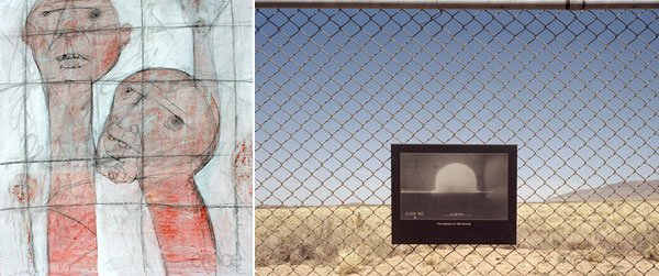 (left) Detail: Prisoners by Warren Croce, (right) Detail: Trinity by Eric Almquist