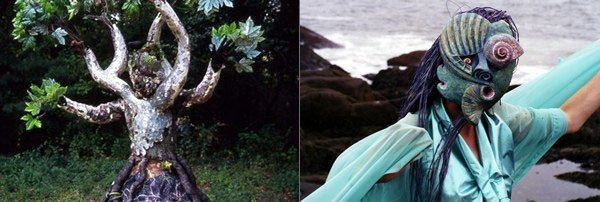 (left) Tree II, (2003 - 2004) artist Katja Esser wearing her creation. Photographer: Delwood Richardson (right) <em>Ocean Spirit, </em>(1999) artist Katja Esser wearing her creation. Photographer: Jay Rosenberg
