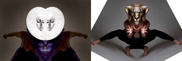 (left)  Moon Split, mask by Eric Bornstein, photo by Richard Chase; (right) Lion Split, mask by Eric Bornstein, photo by Richard Chase