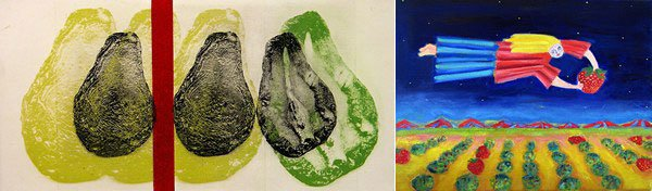 (left) Christiane Corcelle-Lippeveld, Three Plus Three Plus One, solar etching; (right) Jane Hanenberg, Buy Fresh, Buy Local, oil on canvas