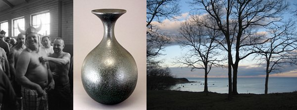 Tony Loreti, South Boston, January 1, 2010, silver gelatin print; Derrick Te Paske, Ancient Vessel Form, turned black cherry w/ applied acrylic polymer; Nancy Reppucci, View from the Bluffs, digital print