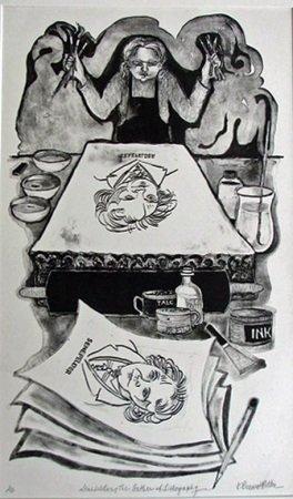 Senefelder, The Father of Lithography, Lithograph Karen Brussat Butler, Bloomington, IL