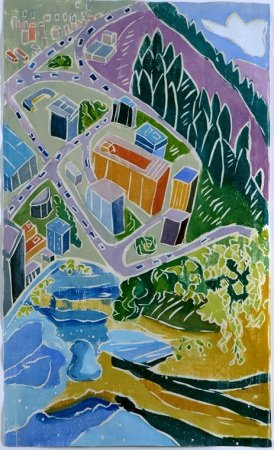 Perspectives, White Line Woodcut<br /> Aline Feldman, Columbia, MD