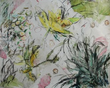 "Elizabeth Carter, ""Plant Life"", charcoal and pastel, 28″ x 33″"