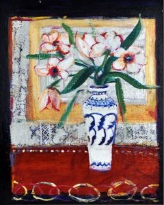 <em>Lace Tulips, </em>acrylic & collage on canvas