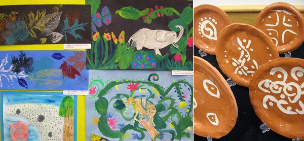 left: leaf printing; right: drawings in the style of Rousseau by Butler students, 2010
