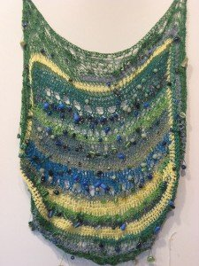 Arlette Doherty, Awash with Blue, Yellow and Green, fiber and beads
