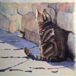 Susan Johnson, Tabby Cat, watercolor/india ink