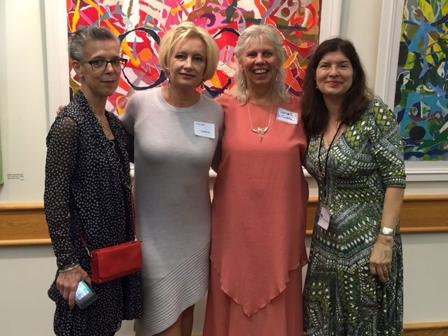 Voices Surface artists (l to r) Anne Johnstone, Helen Canetta and Carol Wintle, with BGA Director Rebecca Richards, at exhibit opening Sept 23.