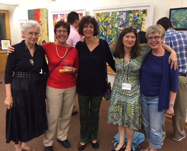 Belmont artists Mathilde Duffy, Juliette Carignan and Kay Hudgins with former BGA board member Christine Sandvik (center) and BGA director Rebecca Richards.