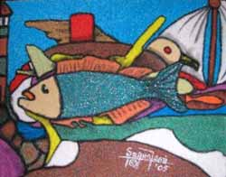 "Creativity, Sand painting, 8""x10"
