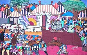 """The Naming Ceremony, Yarn painting, 30""""x48"""""""