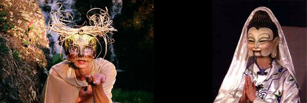 Woodland Faery (2008), mask created and worn by artist Deborah Coconis (right) Kuan Yin (2002), mask by Deborah Coconis