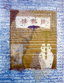 "Ann Forbush, ""R"" is for Remember, Monotype collage, 22""x 30"""