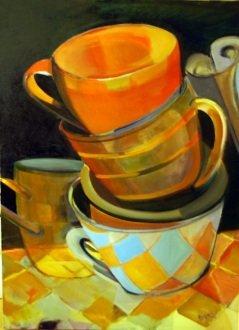 """Emily Passman, """"Stack"""", oil, 36″ x 24″"""