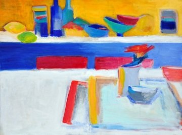 Lemon Shelf,</em> oil on canvas
