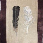 Kimberly Becker, Crow and Gull, linen, watercolor, french knots