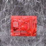 Erika Hartweig, Red Motherboard, etching/collage