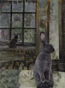 Wintle-Hares at Home_2014_mixed media_20x14_$300